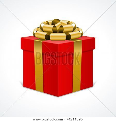 Red gift box with golden ribbon isolated on white. Vector illustration eps 10.