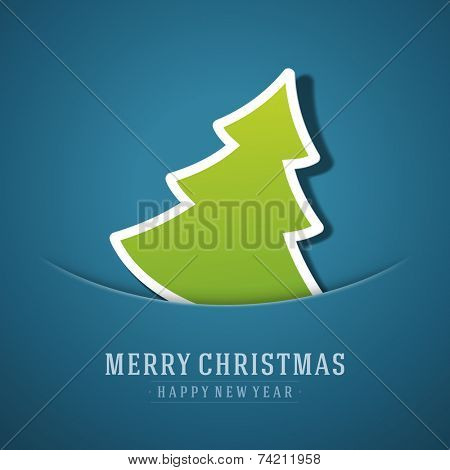 Merry Christmas tree applique background. Christmas card or invitation. Raster version.