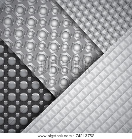 Set Of Several Seamless Carbon Fiber Patterns