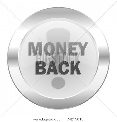 money back chrome web icon isolated