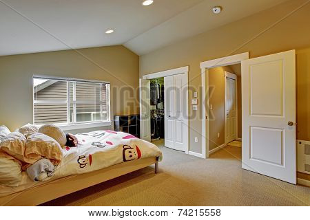 Cozy Bedroom With Light Wooden Bed And Cheerful Bedding