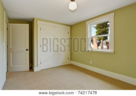 Empty Bedroom Interior In Light Mint Color