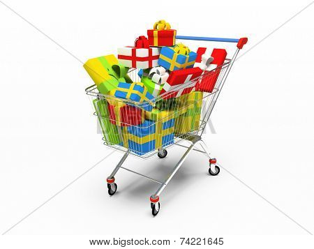 Varicolored gift boxes in shop pushcart 3D rendering