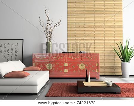 Home interior  with Chinese furniture 3D rendering