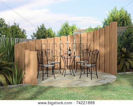 Arbor with furnitures in sunny day 3D rendering