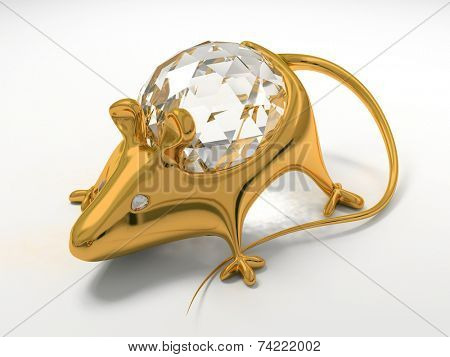 Gold jewelry decoration mouse with diamond saphire