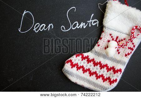 Dear Santa On A Chalkboard