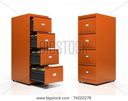 Orange card files isolated on white background