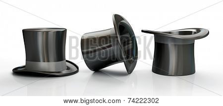 Three black top hats isolated on white background