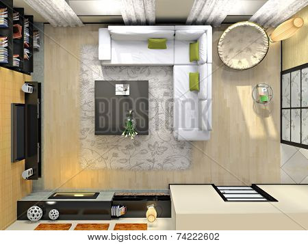View from above on the modern interior 3D rendering. Photo in the magazine was made by me, I uploaded model's release