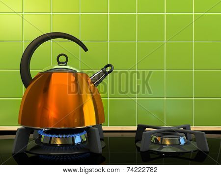 Orange kettle on the gas-stove 3D rendering
