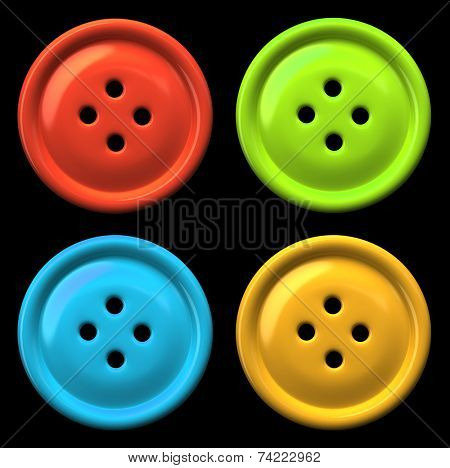 Four colourful buttons for clothing isolated on black background 3D rendering