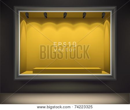 Empty showcase of a shop in the evening light vector