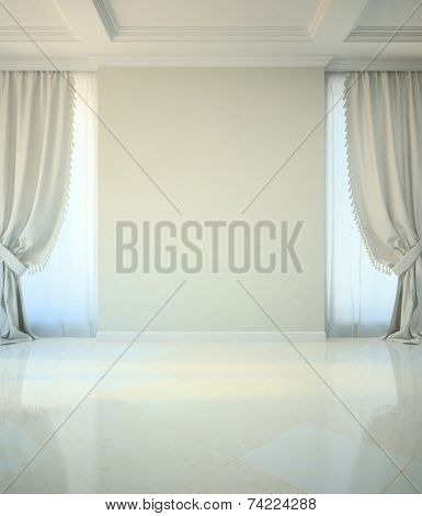 Empty room in classic style illustration