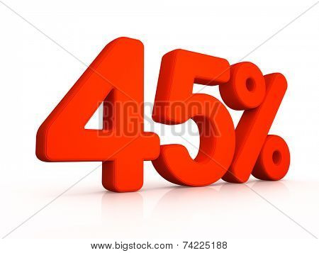 forty five percent symbol on white background 3D