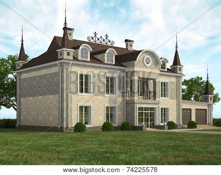 Fasad of the modern house in landscape illustration