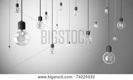Light bulbs on grey background 3D