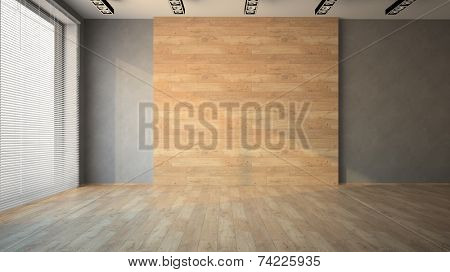 Empty room with wooden  wall