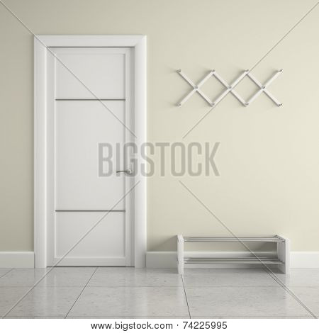 Hall with  white door and  hanger