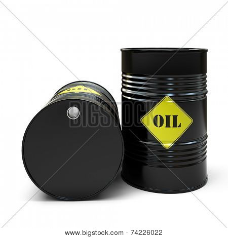 Black oil barrel isolated on white background