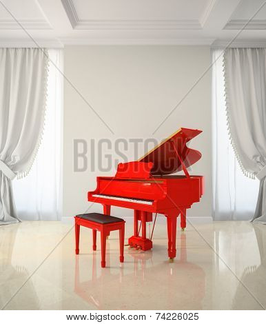 Room in classic style with red piano