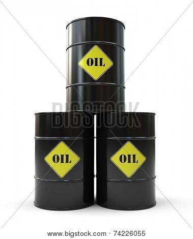 Pyramid of black oil barrel 3D
