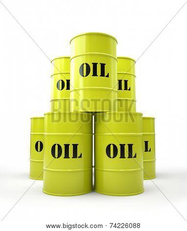 Pyramid of yellow oil barrel 3D