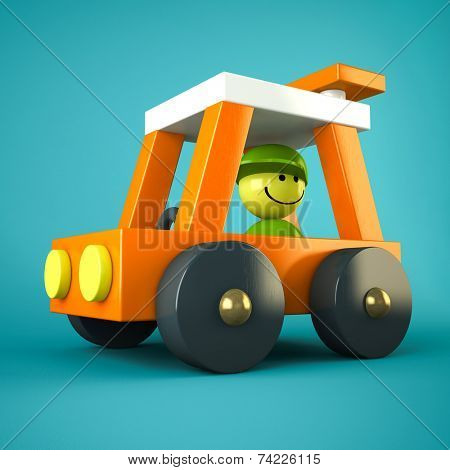 Orange toy car on blue background
