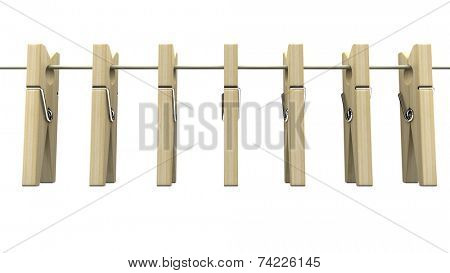 Wooden clothespins on rope
