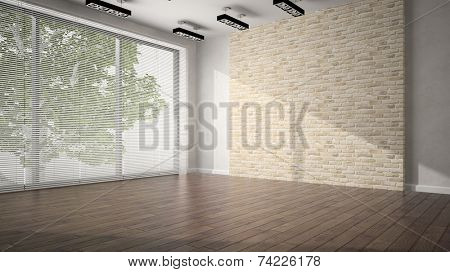 Empty room with brick wall and dark floor