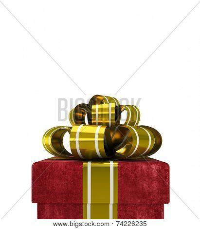 Red velvet gift box isolated on white background
