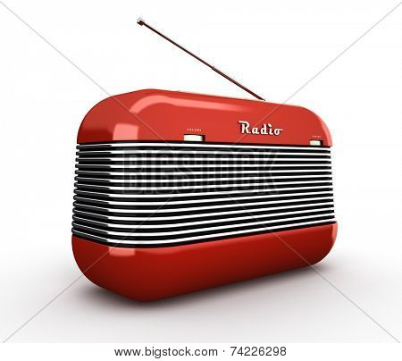 Old red vintage retro style radio receiver isolated on white background