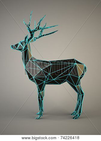 Black Deer with a blue edges on gray background