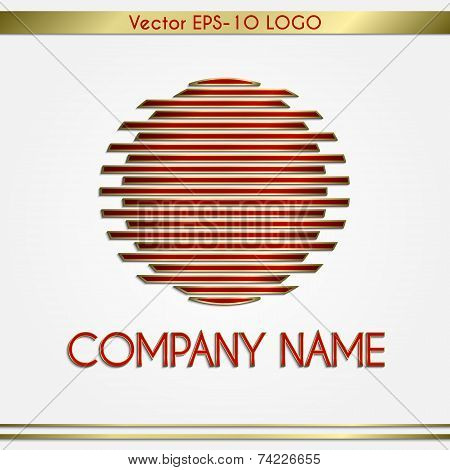 Vector abstract company name red and gold  round logo