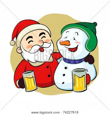 Drunk Santa Claus And Snowman