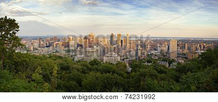 Panorama of the Montreal Skyline at dusk, taken from the top of Mont Real, Quebec Province, Canada.