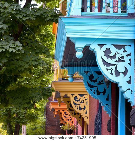 Colour porches and balconies on a street in Montreal, Canada