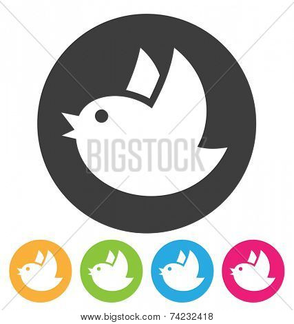 round flying bird icon isolated on white
