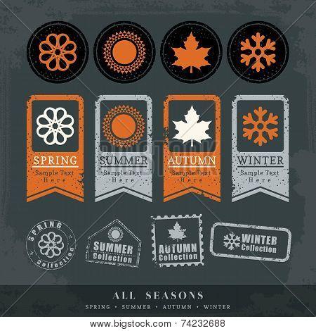 Four Seasons Symbol Vector Illustration For Postage Stamp Label Tag Sticker