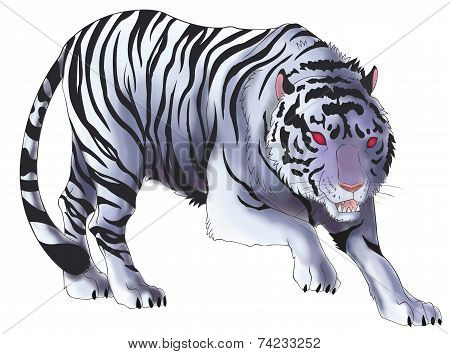 White Tiger Illustration In Isolated Background (vector)