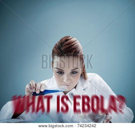 Blonde scientist pouring liquid into erlenmeyer on blue background