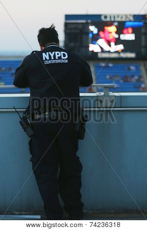 NYPD counter terrorism officer providing security at National Tennis Center during US Open 2014