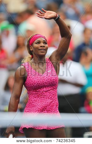 Grand Slam champion Serena Williams celebrates victory after fourth round match at US Open 2014