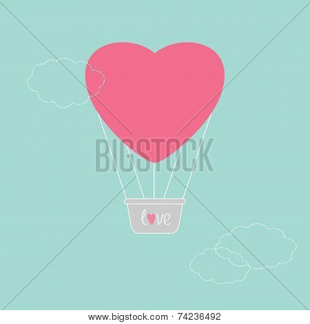 Hot Air Balloon In Shape Of Heart Dash Line Clouds Flat Design