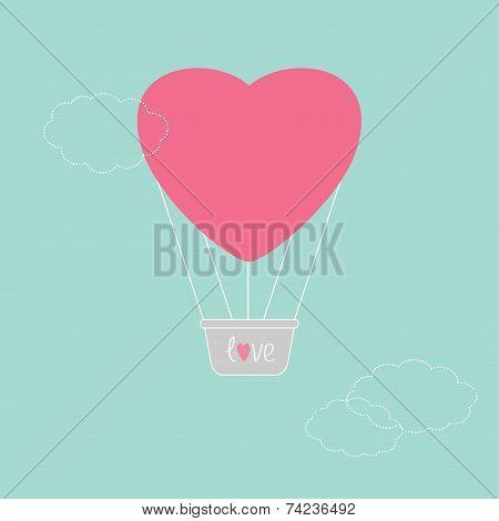 Hot Air Balloon In Shape Of Heart Dash Line Clouds Flat Design