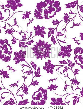 Purple Flower Seamless Pattern