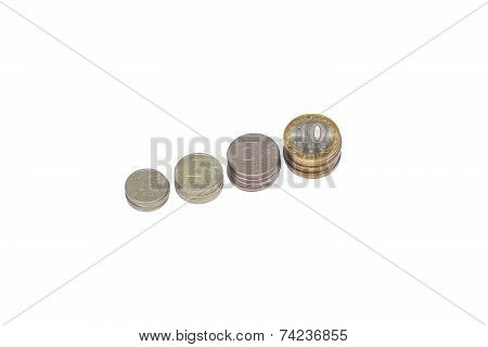 four rows of stack coins