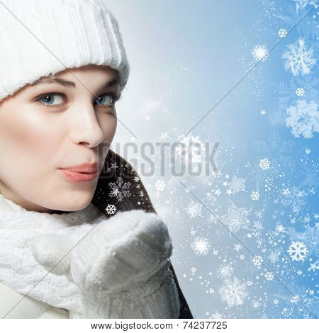 beauty face portrait of attractive young caucasian woman in warm clothing  studio shot isolated on white  winter