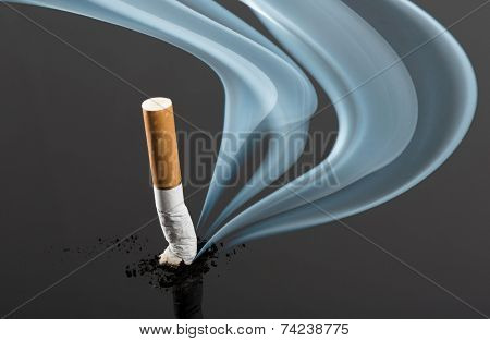 Cigarette butt with curve fume