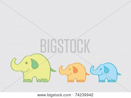 Big Elephant Leading Small Elephants Cartoon